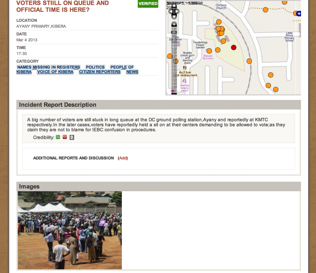 Example of election day report on Voice of Kibera